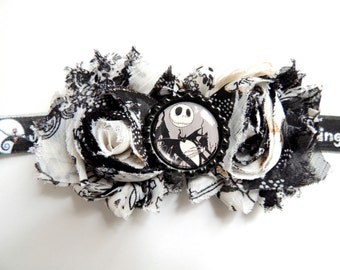 Jack Skellington, Nightmare Before Christmas Inspired Shabby Flower Headband