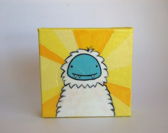 Sunshine Yeti, acrylic painting (5x 5 inches). One-of-a-kind.