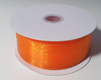 "1 1/2"" Wired Edge Organza Ribbon - Orange - 10 Yards"