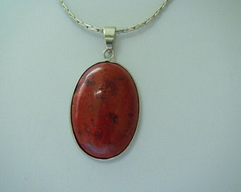 Red Coral Necklace Oval Coral Pendent