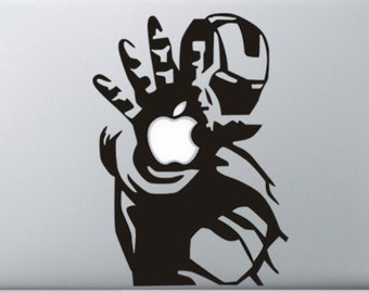 Ironman decal fits around the apple of a Macbook pro 13 inch