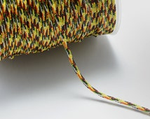 174ft (53m) (58 yards) 1mm Patterned Cotton Cords, Mixture of Red/Yellow/Green/Black/White, Spooled, Beading String for Beads #SD-S7395