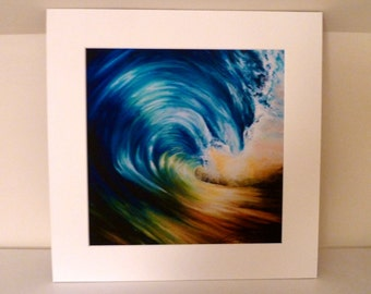 "Wave- Mounted Fine Art Limited Edition Signed Giclee Print 14x14"" by Sarah Wake"