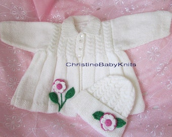 White Matinee Jacket and Matching Hat for Baby Girl or Reborn Doll.