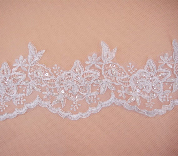 Fabric Flower Trim: Embroidered Lace Trim Floral Tulle Lace Fabric Beaded Flower