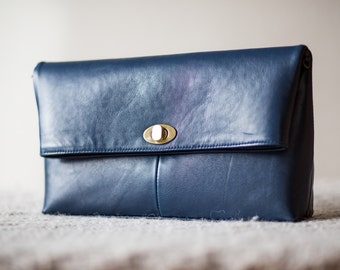 Folded Leather Clutch / Women Small Leather Bag / Blue colour