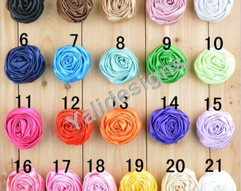 U Pick! 5CM 2'' inch Rose Flower Brooch /Satin Ribbon Flower Headdress DIY Fabric Headband Shoes Accessories-Mixed Color-YTA55