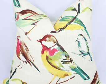 Linen Pillow Cover in Multicolor. Birds Linen Pillow Cover.