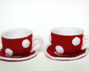 Amigurumi Tea Set. Crochet tea cup and saucer