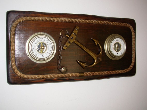 Vintage Nautical Wall Decor Barometer & By
