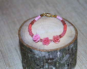Flower and Beaded Bracelet