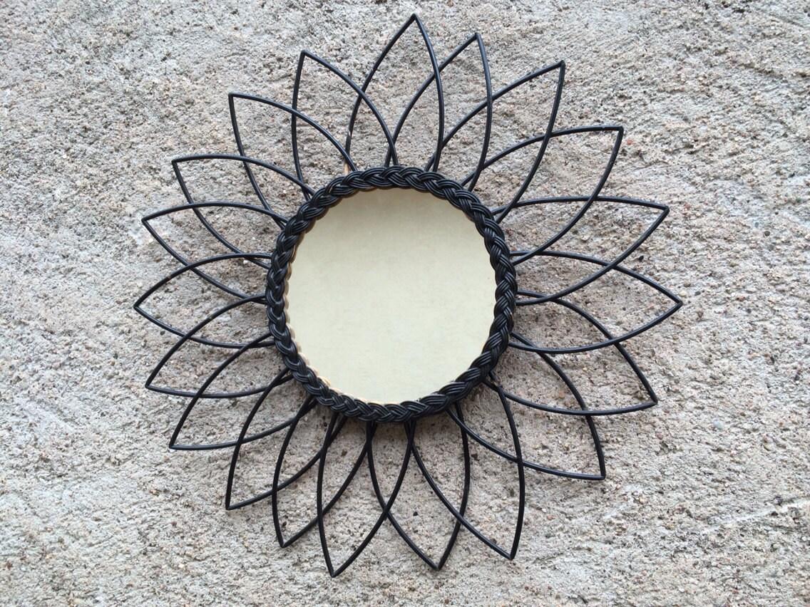 miroir soleil rotin couleur noir origine vintage deco. Black Bedroom Furniture Sets. Home Design Ideas