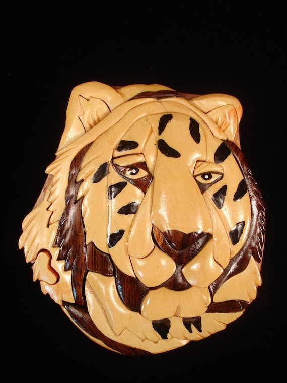 Hand carved wood art intarsia tiger puzzle by myheritageusa