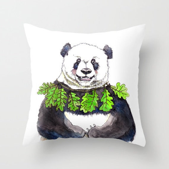 Panda Pillow Case Panda Home Decor Bear Drawing 16x16 By