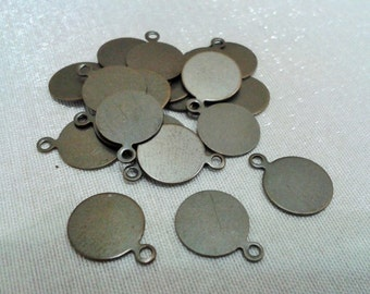 100 Pcs Antique Bronze 10 mm Stamping Findings