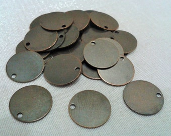 50 Pcs Antique Bronze  12 mm Stamping Blanks Findings