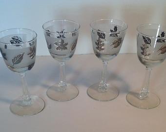 Sale - Mid Century Silver Leaf Wine Glasses