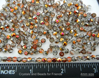 600 Crystal Santander coated 4mm, Preciosa Czech Fire Polished Round Faceted Glass Beads, Czech Glass Fire Polish Beads, loose