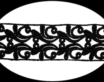 3.25 Inches Wide -- Black Venice Lace Trim Guipure Trimming Clothing Design Alteration Embellishment Craft Supplies Sewing Notions 520577