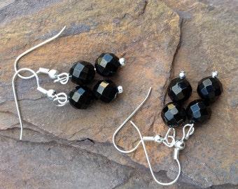 Jet Gemstone Dangle Earrings