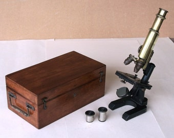 Circa 1900 F.W. Schieck Labor Microscope Berlin Germany