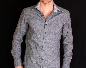 Mens shirt, grey cotton, slim fit