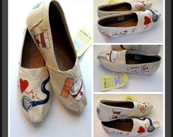 Women's Painted Custom Registered Nurse Shoes Delivery Nurse Emergency Room CNA RN Graduate Birthday gift graduate