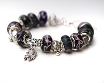European Charm Bracelet Black and Pink with tibetan Silver charms - adjustable one size fits all