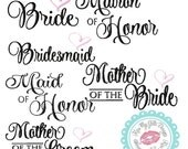 Bridal Party **11 SEPARATE DESIGNS** Machine Embroidery Designs