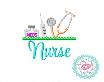 Nurse with Stethoscope, Medicine Bottle and Syringe Machine Embroidery Applique Design
