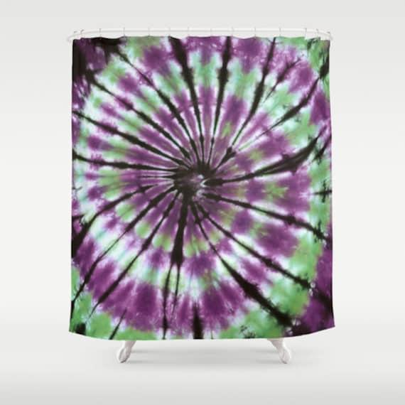 Fabric Shower Curtain Green Purple Black Spiral Tie