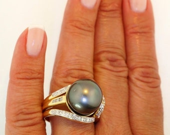 14K Yellow Gold 13.5mm HUGE Tahitian Dark Gray Pearl Diamond Ring 2-Piece Set