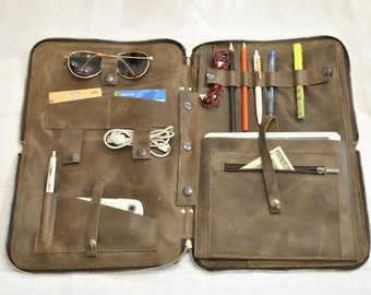 "Laptop bag 15"" Laptope case Leather travel organizer Dark Brown Multi-Function bag Leather Organizer  Leather Sketchbook leather Ipad bag"