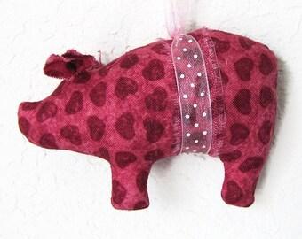 Dusky Pink Hearts Pig Valentine Ornament, Handmade Ornament, Pig Ornies, Hanging Ornament