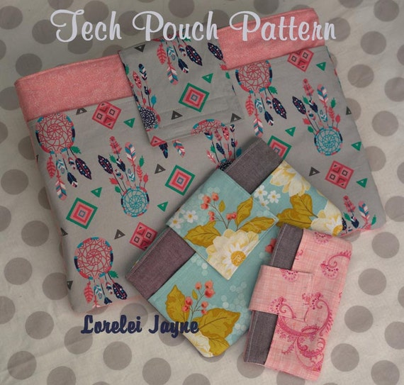 Tech Pouch Pattern 5 sizes included - Laptop, kindle, iPad mini, tablet, smart phone
