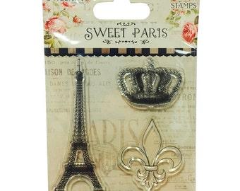 Dovecraft Sweet Paris Eiffler Tower Fleur de Lys Crown Stamps