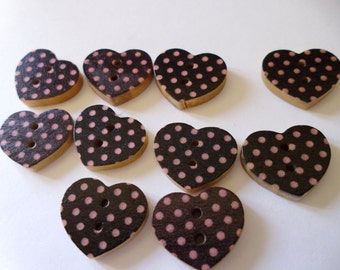 10 Wooden Heart Spot Buttons Black and Pink
