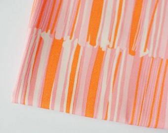 pink & orange stripe fabric   Vitrine Watermarks Glaze, Morning Walk by Leah Duncan for Art Gallery fabric by the yard, pink white geometric