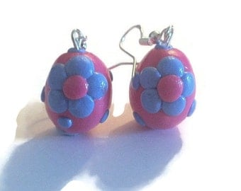 Polymer clay glazed spotty dotty Easter Egg Earrings with bows on sterling silver hooks