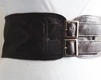 Dark Brown Corset Leather Two Buckle Belt | Brown Belt | Corset Waist Belt | Leather Buckle Belt | Buckle Belt