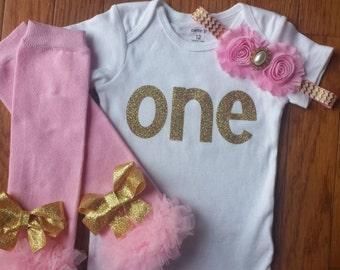 """SALE Gold Glitter Viny Bling """"ONE"""" Onesie, Pink Leg Warmers, & Headband Set, infant,toddler,baby girl,1st Birthday,Cake Smash"""