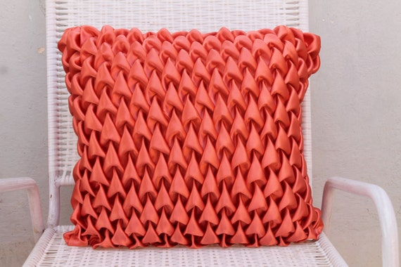 Peach Decorative Throw Pillows : Decorative Satin Pillow Cover in Peach Canadian by KnotnStitch