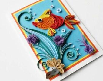 Fish Greeting Card - Birthday Card for Kids - Card for Boy - Card for Girl - Quilling Card for Kids - Quilling Card