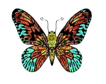 11x14 Aqua Tapestry Butterfly Print