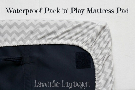 items similar to waterproof pack 39 n 39 play mattress pad custom sizes available on etsy. Black Bedroom Furniture Sets. Home Design Ideas