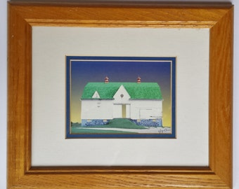 Jennifer O'Meara Digital Print White Barn with a Green Roof