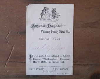 Social Dance Invitation Card, social dance, antique card, vintage card, antique invitation, vintage invitation, dance invitation