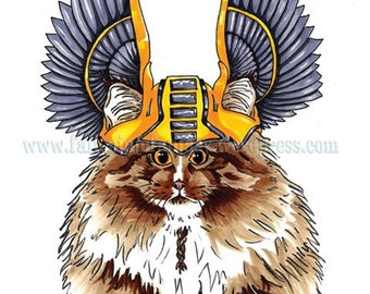 Feline Origins : The Norwegian Forest Cat, A4 Limited Edition Print