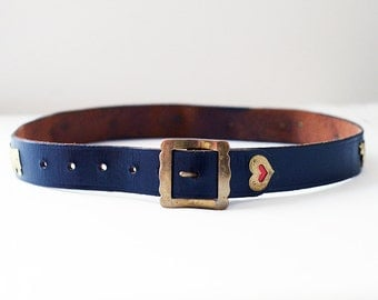 Black Leather Belt | XXS XS | Vintage | Gold
