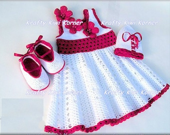Crochet Baby Girl white and lavender Dress, Hat and Booties - Made to order